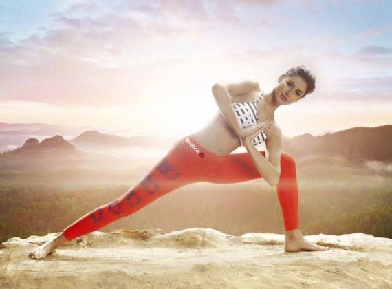 Nargis Fakhri Doing Yoga For The Reebok