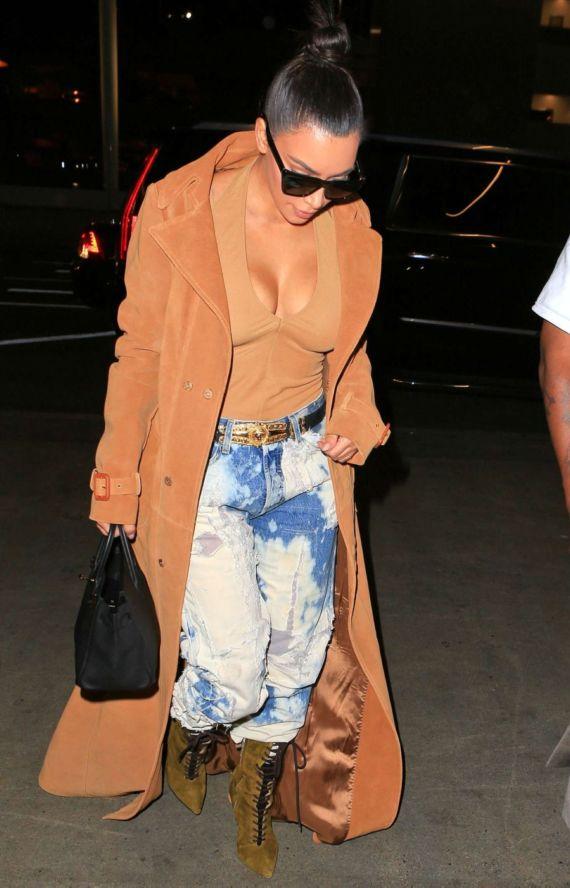 Kim Kardashian In Jeans At LAX Airport In LA