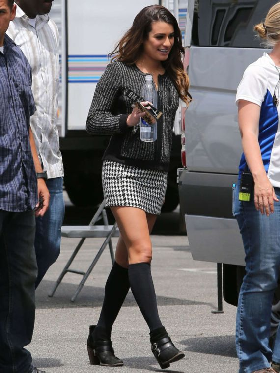 Lea Michele On The Sets Of Glee