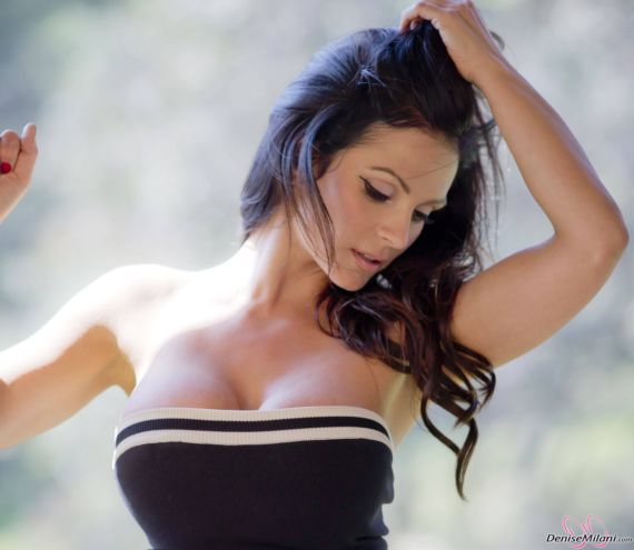 Awesome Denise Milani In Black N White Dress