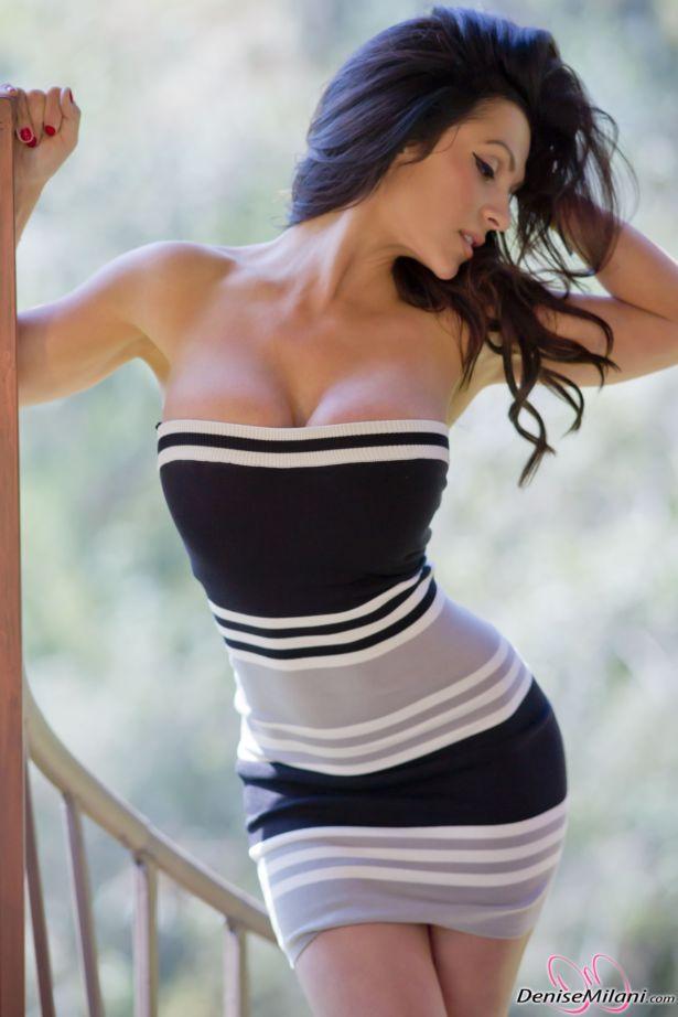 Awesome Denise Milani In Black N White Dress